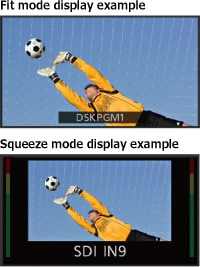 """Fit mode display example"" and ""Squeeze mode display example"""