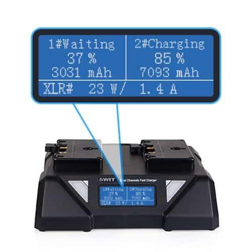 SWIT S-3812A dvojkanálová paralelná Gold-Mount rýchlonabíjačka s LCD