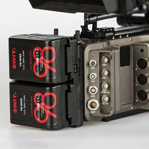 Výhodný set 2x mini V-mount priesvitných batérii SWIT PB-M98SE a hot swap adaptéra KA-M20S