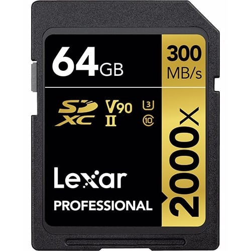 Lexar® Pro 64GB 2000x SDXC™ UHS-II U3 card (V90)