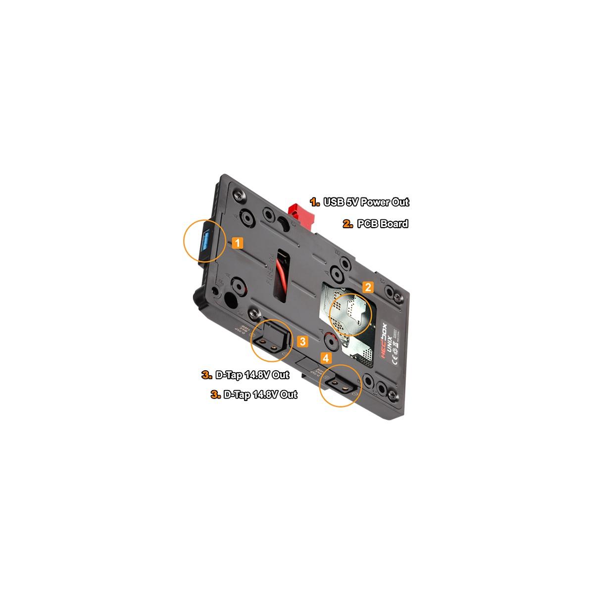 Hedbox UNIX-HY V-mount napájací úchyt s 4-pin HIROSE HR-10-7P-4P