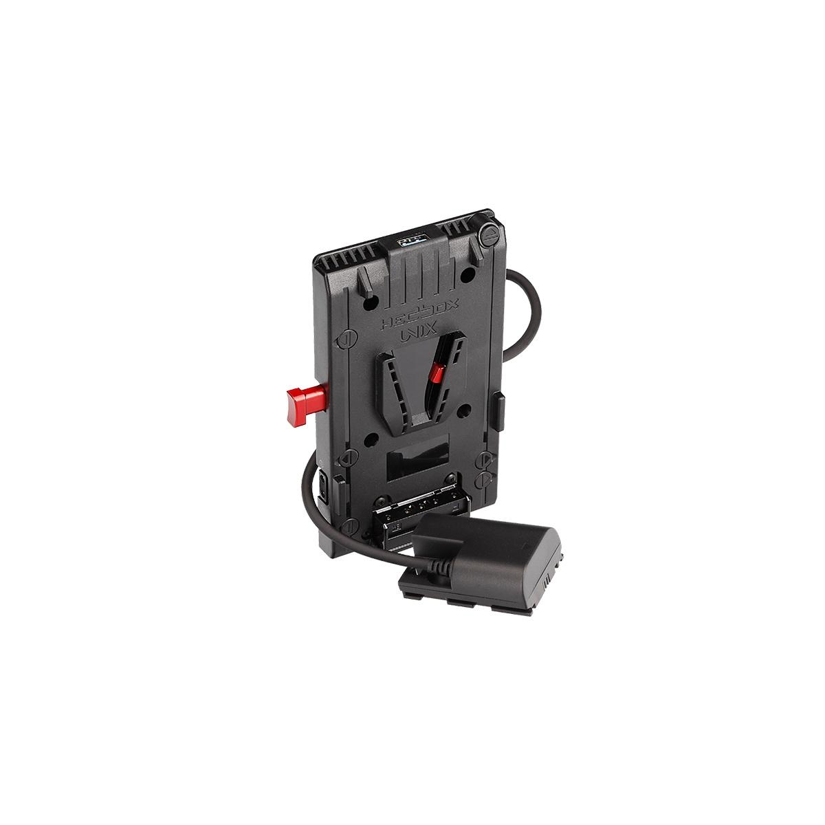 Hedbox UNIX-LPE6 V-mount napájací úchyt s Canon LP-E6 (dummy batéria)